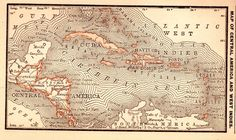 RARE Antique CARIBBEAN Map CENTRAL AMERICA Map 1886 RARE MINIATURE Map 2950
