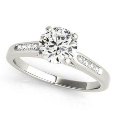 Channel Set Diamond Engagement Ring Moissanite Center - Chloe