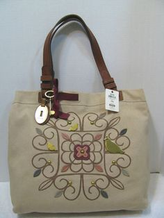 ~FOSSIL Penelope Tote Bag Purse Bird Embellished Canvas w Leather Free Ship    eBay 2aefc2c016