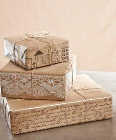 wishy washi tape...on brown paper packages.