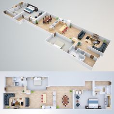 3D Floor plan rendering on Behance