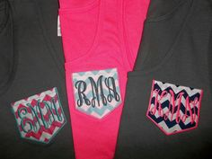 Monogrammed Pocket Tank Top for Ladies by BlumersEmbroidery  https://www.etsy.com/listing/205674766/monogrammed-pocket-tank-top-for-ladies www.facebook.com/blumersoftexas