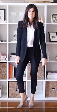 Dark ankle trousers with same color blazer