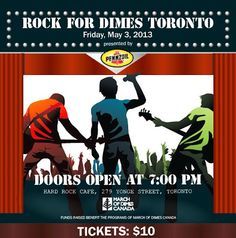 On May 3 attend Rock for Dimes Toronto in support of March of Dimes Canada! May 3, Toronto Street, Kids Attractions, March Of Dimes, Hard Rock, Fundraising, Helpful Hints, Charity, Canada