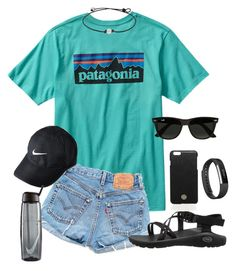 """""""Casual"""" by mmkatzenmeyer ❤ liked on Polyvore featuring Patagonia, Levi's, NIKE, Chaco, Tory Burch, Ray-Ban and Fitbit"""