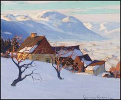 Paysage de Charlevoix - Clarence Alphonse Gagnon CAC RCA 1881 - 1942 Canadian oil on canvas 10 x 12 in 25.4 x 30.5 cm Winter Landscape, Landscape Art, Landscape Paintings, Impressionist Paintings, Canadian Painters, Canadian Artists, Painting Snow, Painting Prints, Clarence Gagnon