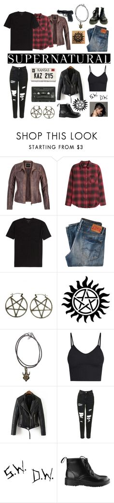 """""""Dean and Baby"""" by elsiedries ❤ liked on Polyvore featuring maurices, Kings of Indigo, Pamela Love, All Black, BasicGrey, Topshop, supernatural, DeanWinchester, winchesters and impala"""