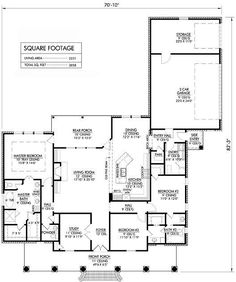 Southern Style House Plans - 2231 Square Foot Home, 1 Story, 3 Bedroom and 2 3 Bath, 2 Garage Stalls by Monster House Plans - Plan 91-130
