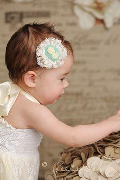 Lace Flower with Cameo on Skinny Headband - All Sizes - Baby Headband - Newborn Headband - Toddler Headband