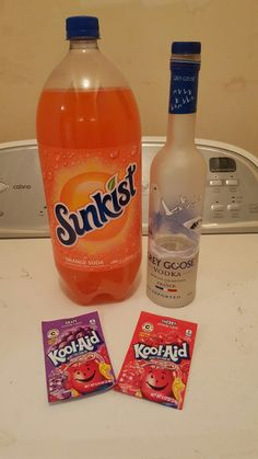 Since I've been asked a lot on how to make 'Sweet Tart' here's the recipe! I usually pour out the Sunkist to the label, pour in each packet of kool-aid (one at a time! & close the lid after each time as it will fizz up. Slowly open until it doesn't fizz anymore!) Then add your desired amount of vodka. Close the lid and mix! It really tastes like the sweet tart candy. And you can experiment with different kool-aid, mix and match, etc. #sweettart