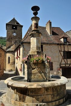 medieval village fountain, Autoire, France