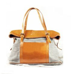 Women's Canvas Tote Bag with leather Canvas by JoyandSurprise, $99.00