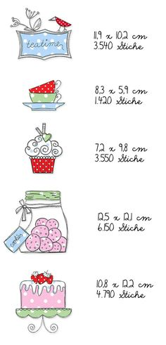 Teatime Doodles Ein Tässchen Tee gefällig? Dazu ein Törtchen? Vielleicht ein Muffin? Mit den passenden Stickdateien wird jede Teeparty zum Vergnügen. Die Motive wirken wie zufällig hingekritzelt, die offenkantig verarbeiteten Applikationen dürfen dabei gerne ein wenig ausfransen, das verstärkt den Skizzier-Effekt. Die genauen Größen der einzelnen Stickmotive und viele wunderbare Designbeispiele meiner Probestickerinnen könnt Ihr hier sehen: Für Designbeispiele  Vielen Dank an Kasia von…