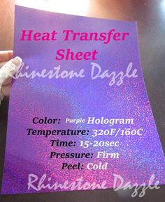 "9""x12"" Purple hologram heat transfer vinyl Sheet. High gloss, shiny prism like finish. Iron on vinyl, holographic transfer, t-shirt vinyl. Hologram heat transfer material has a shiny finish which feat"