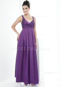 A line Taffeta V Neck Empire Floor Length With Ruching Bridesmaid Dress