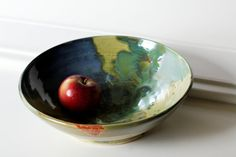 Large Serving Bowl Great for Fruit or Pasta or Popcorn Wheel thrown Pottery