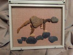 Dinosaur, pebble art, beach stone art, birthday gift, gift for boy, Christmas gift, Thanksgiving gift by madebynatureandme on Etsy