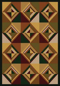 RugStudio presents American Dakota Cabin Folk Lore Brown Machine Woven, Good Quality Area Rug