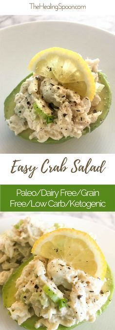 Quick and easy avocado and crab salad. Delicious meal or appetizer - paleo, keto, low carb, dairy free, gluten free