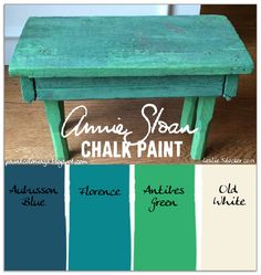 COLORWAYS Shamrock Step Stool in Annie Sloan Chalk Paint. Aubusson Blue, Florence, Antibes Green, Old White