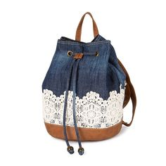 Denim and Crocheted Lace Backpack with Faux Leather Trim School Book Bag - NWTDenim and lace drawstring!Denim and Crocheted Lace Backpack with Faux Leather TrimWould be great to design and make out of some old jeans! Denim Backpack, Rucksack Bag, Small Backpack, Denim Bag, Backpack Bags, Travel Backpack, Drawstring Backpack, Travel Packing, Denim And Lace