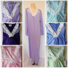 2 Sold.  Soft Knit Nightgown Long Sleeve s M L Purple Blue Pink Green Lavender New GR8 NW | eBay