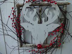 Christmas Wreath Rudolph The Red Nose Reindeer Wreath Window Box Wreath Fun and Festive Wreath Holiday Wreath Birch Twig Wreath Red Berry Wreath, Green Wreath, Wooden Reindeer, Red Nosed Reindeer, 4th Of July Decorations, Christmas Decorations, Indoor Wreath, Twig Wreath, Rudolph The Red