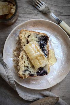 blueberry muffin loaf with cut comb honey