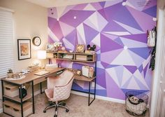 When you love the purple wall so much you bring it home. 😍 did such an amazing job in her home office! Purple Wall Decor, Purple Walls, Purple Home, Disney Bedrooms, Disney Home Decor, Home Decor Quotes, Home Office Decor, Office Ideas, Little Houses