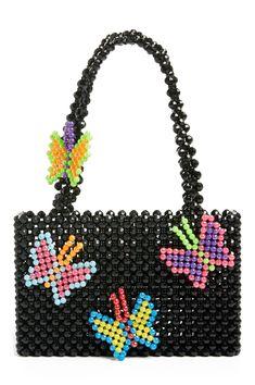 Susan Alexandra Papillon Beaded Bag | Nordstrom #black #beaded #bag #blackbeadedbag Beaded Clutch, Beaded Purses, Beaded Bags, Butterfly Bags, Beaded Crafts, Barbie Accessories, Bead Jewellery, Jewelry, Ideas