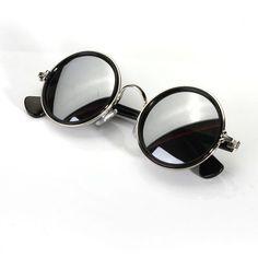 Men Women Vintage Retro Round Golden Metal Mirrored Sunglasses ($6.01) ❤ liked…