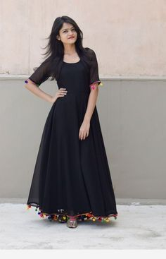Online Shopping India - Buy Kurtis, Tops, Dresses, Shirts & Fashion For Women Black Lashkara AnarkaliGeorgette with Shantoon lining and pompom lace detailing CostSimplest is the best Indian Gowns Dresses, Indian Fashion Dresses, Dress Indian Style, Indian Designer Outfits, Pakistani Dresses, Long Dress Design, Stylish Dress Designs, Designs For Dresses, Designer Party Wear Dresses
