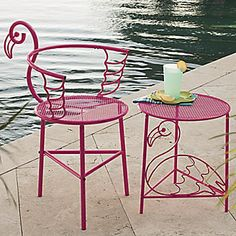 Flamingo Chair and Side Table from Seventh Avenue.. Are you even kidding me?!