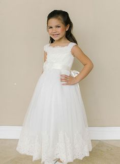 c97957ec77b Designer Amalee Girls Dress Style FG119- Sleeveless Net and Lace Dress with  Satin Sash