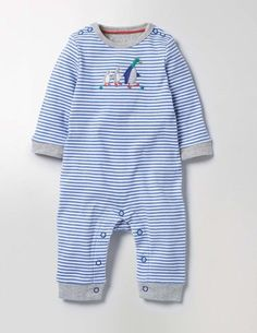 This supersoft jersey romper is just the thing to keep baby cosy all day. It features our Mr Mallard duck appliqué and is beautifully finished with contrast binding on the cuffs and neck – making it an ideal present for newborns. And poppers on the inside legs and shoulders are perfectly placed for hassle-free changes.