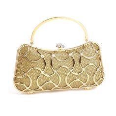 LLJUNDUI 2017 New Metal Frame Sparkling Diamond Evening Bags Gold Party Wedding Bridal Crystal Handbag Box Clutch Free Shipping