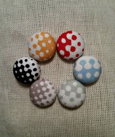 • Dot Fade Away button earrings    •Handmade fabric button earrings featuring a dot pattern in your choice of red, orange, blue, green, gray, or