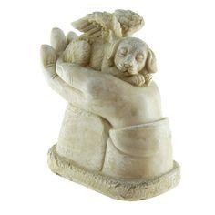 Nieuw model: Honden Urn met Engel Vleugels (1 liter). Unieke Honden Asbeeld. Voor de crematie-as van uw trouwe viervoeter. Ook in bronskleur! € 55