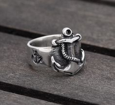 Nautical Anchor ring in Sterling Silver, FIRST MATE -  men and women ring - wedding, engagement. on Etsy, $169.00