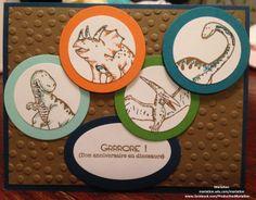 carte d'anniversaire pour enfant dinosaur en scrapbooking - Stampin' up