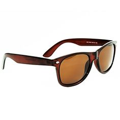 Polarized Wayfarer Sunglasses by Eye Love, Lightweight, 100% UV Protection (Brown, Brown Polarized)
