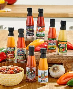 Turn up the heat on any meal with this 8-Pc. Global Hot Sauce Gift Set. Packed with different delicious sauces from around the world, it offers distinct flavors with heat variations ranging from 5 to 5,000 on the Scoville scale. Comes in a box ready for giving. 1.7 oz., each.