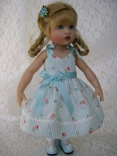 """Riley is 7 and 1/2"""" of dearness.  This dress made from a pattern by Marsha Olson of Perfect Patterns.   by Tomi Jane"""