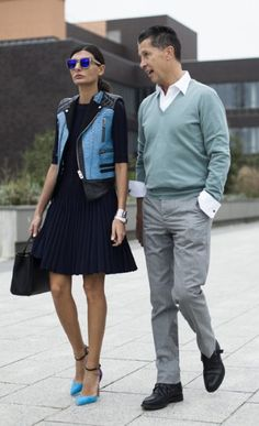Editor of L'Uomo Vogue, Giovanna Battaglia modelled the perfect transitional cover-up: a sleeveless leather biker.