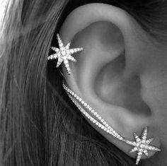 Fashion Star Ear Cuff Ear Clip Orecchini Luxury Clip Earrings For Women Jewelry Earcuff Brincos Piercing Orelha Cartilagem Ear Cuff Jewelry, Cuff Earrings, Crystal Earrings, Clip On Earrings, Women's Earrings, Rhinestone Earrings, Crystal Rhinestone, Starfish Earrings, Silver Earrings
