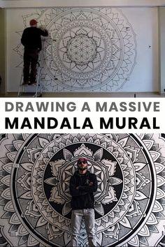 Mandala Doodle, Mandala Art Lesson, Mandala Painting, Mandala Drawing, Sacred Geometry Patterns, Sacred Geometry Art, Murals Street Art, Mural Art, Wall Painting Decor