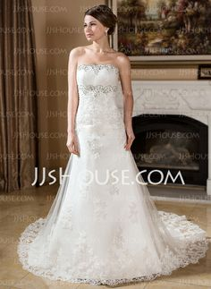 Wedding Dresses - $226.99 - A-Line/Princess Strapless Chapel Train Satin Tulle Wedding Dress With Lace Beadwork (002000382) http://jjshouse.com/A-Line-Princess-Strapless-Chapel-Train-Satin-Tulle-Wedding-Dress-With-Lace-Beadwork-002000382-g382