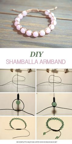 Make Shamballa bracelets yourself - instructions- Shamballa Armbänder selber knüpfen – Anleitung Learn to make a bracelet ♥ ️ DIY jewelry - Diy Shamballa Armband, Shamballa Bracelet, Armband Diy, Fishtail Bracelet, Knotted Bracelet, Adjustable Bracelet, Shell Bracelet, Diy Bracelets Easy, Bracelet Crafts