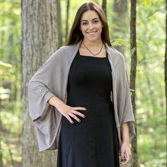 Mesh Shrug in Greige, Twist Dress in Black. Both made from Organic Cotton.  Always Organic. Always Fair Trade. www.maggiesorganics.com