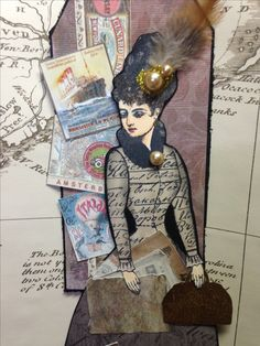 Character Constructions Art Stamps Paper Doll Tag Swap: Travel. Artwork by Dawn Kosec.